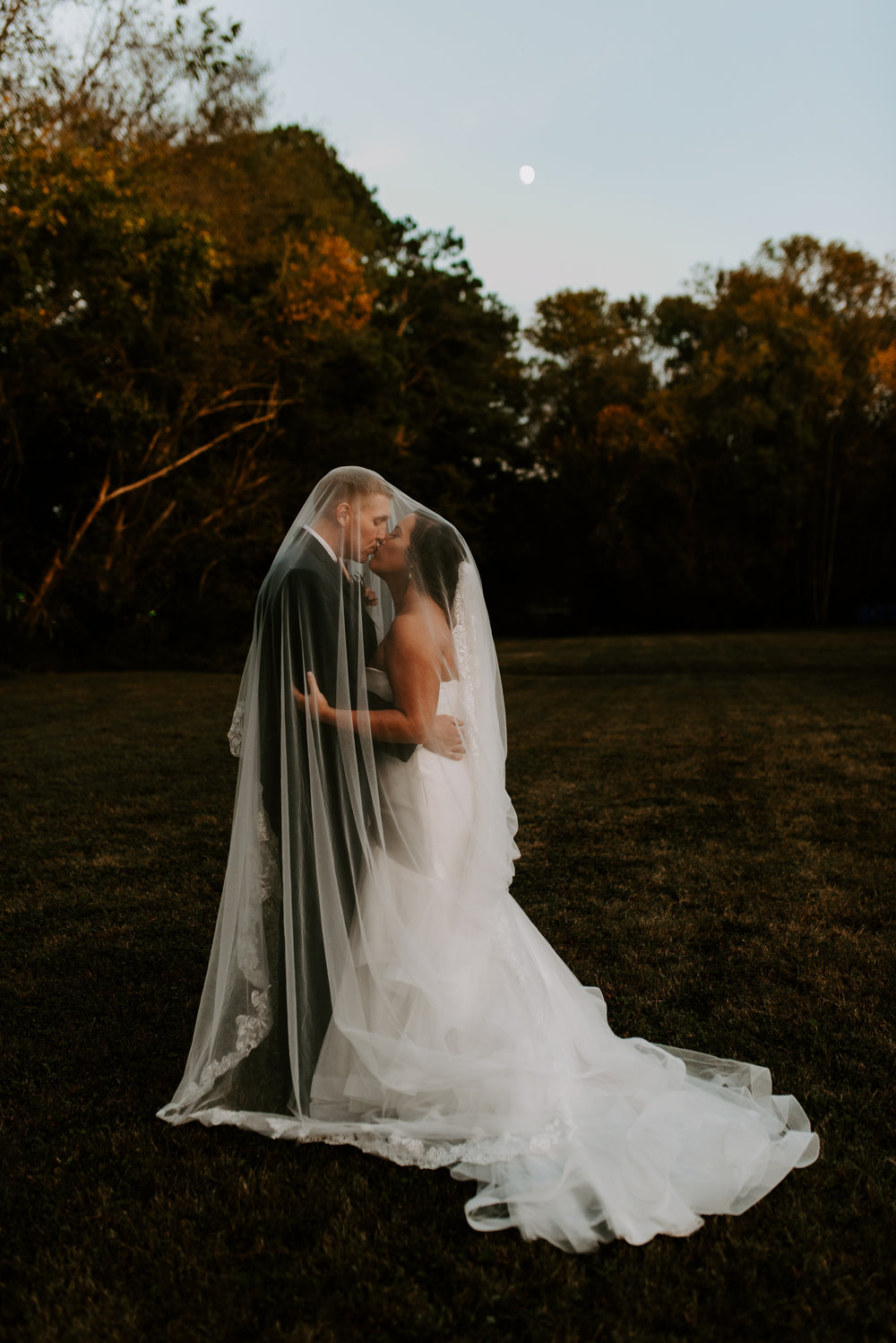Veil Under Moon Wedding