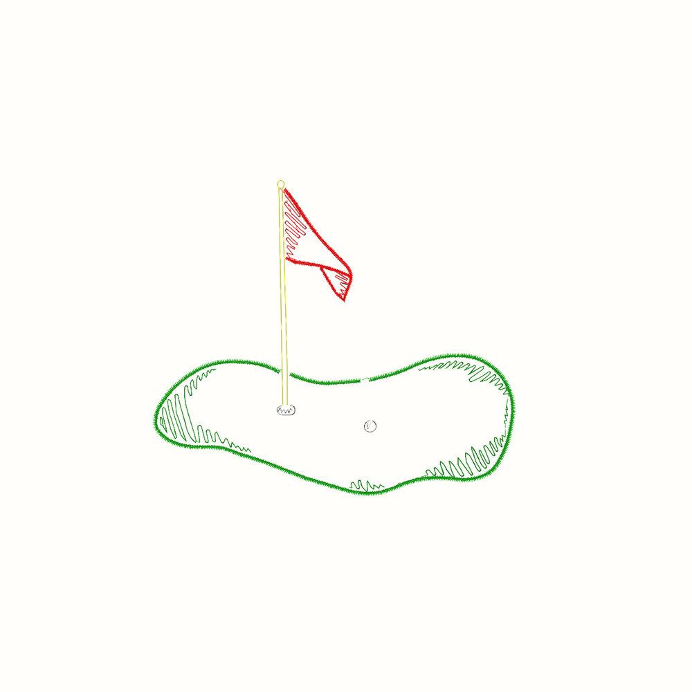 Golf Green Embroidery Design Calabash Card Co