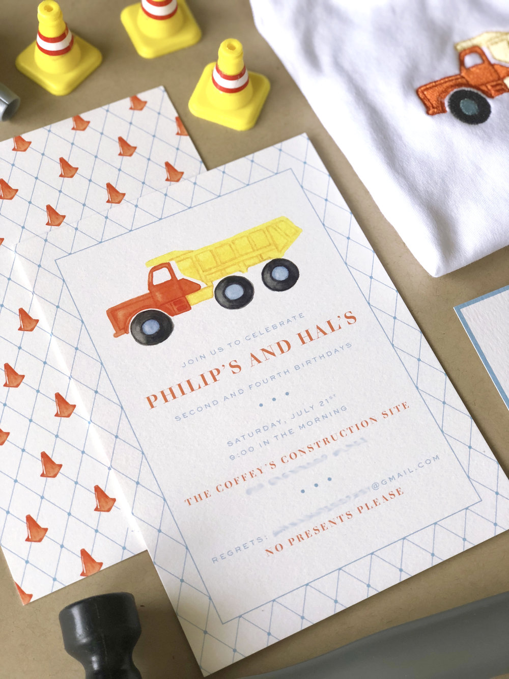 Dump Truck Invitation by Calabash Card Co.