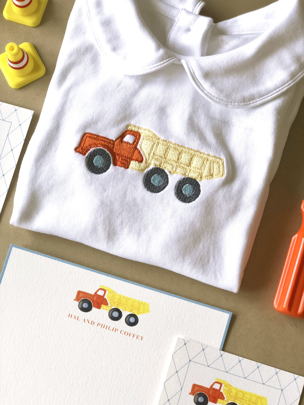Dump Truck Embroidery by Calabash Card Co.