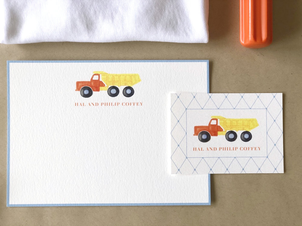 Dump Truck Stationery by Calabash Card Co.