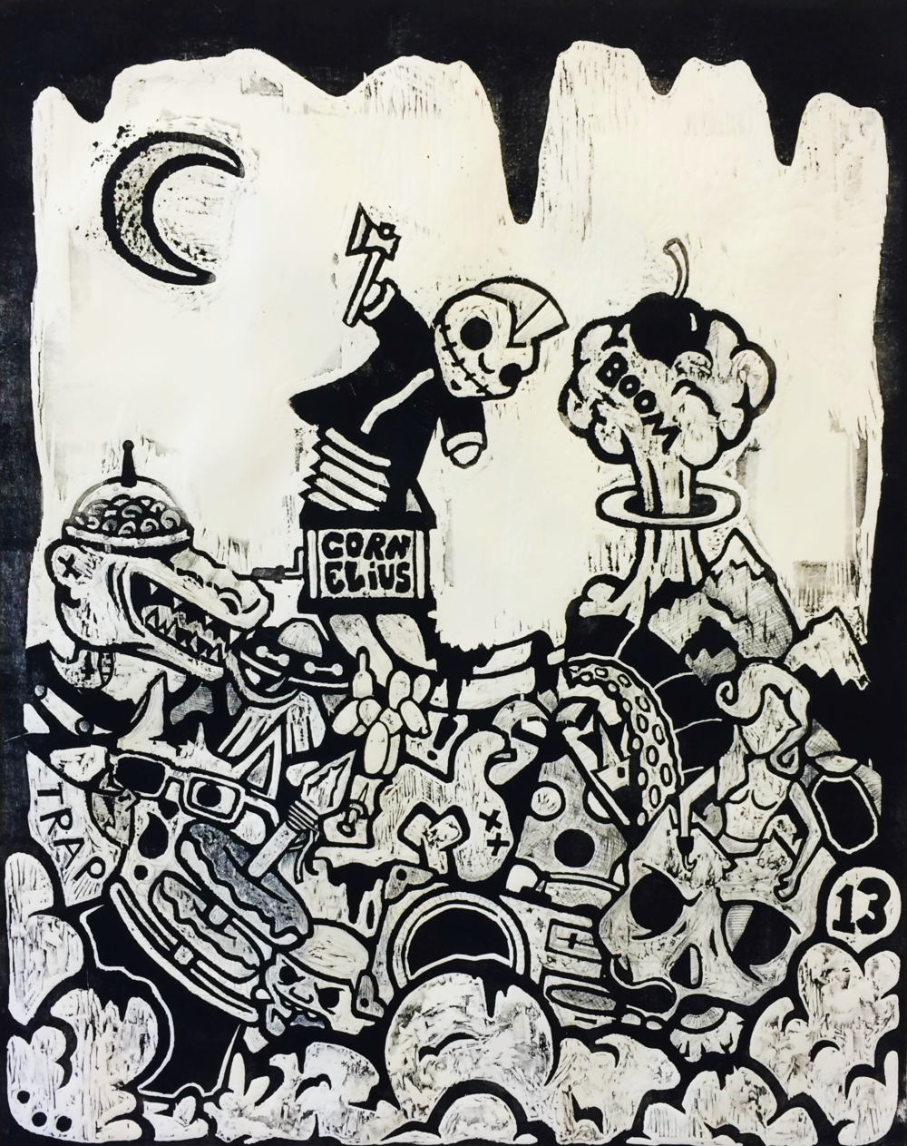 """Mayhem"" 2015 Woodblock print. 30 x 40 in."