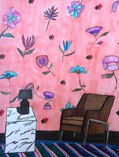 Brown Chair, Pink Floral Wallpaper