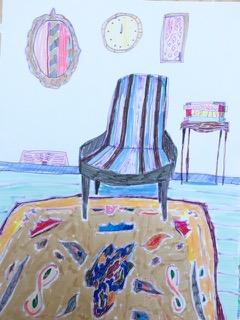 Blue and Black Striped Chair with Tan Rug