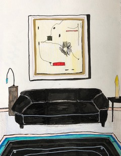 Black Couch with Abstract Painting