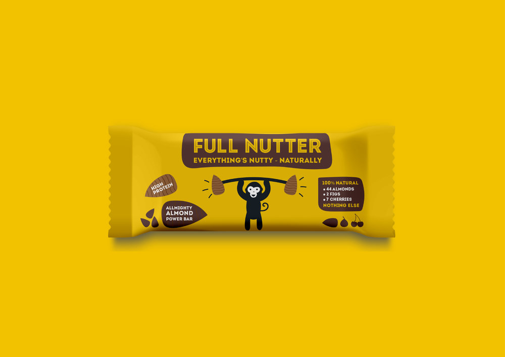 Full nutter health food packaging design and illustration