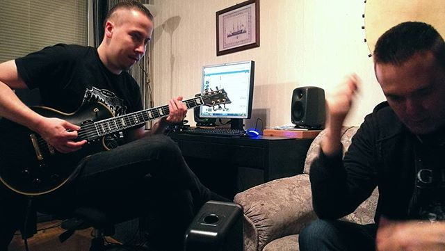 Testing out Björns new guitar and writing them songs! New tuning, new ideas, new feels. New gear can inspire new ideas, so be sure to buy stuff sometime if you feel stuck. How do you get inspired? #nighon #metal #music #writing #songs #esp #ctm #genelec #studio