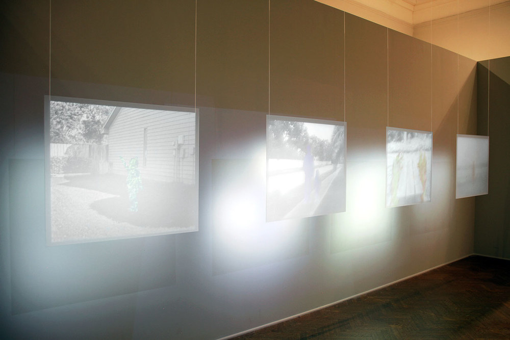 Moving Imagery projected on plexiglass, Installation at Corcoran Gallery of Art