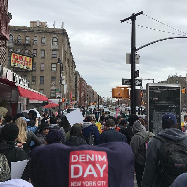 Out here at the Denim Day Bronx March! It's awesome to have the opportunity to take part in such a passionate and impactful organization. Thank you to @denimdaynyc and @madisonseery for allowing us to help make a difference for women and men in our community and city!