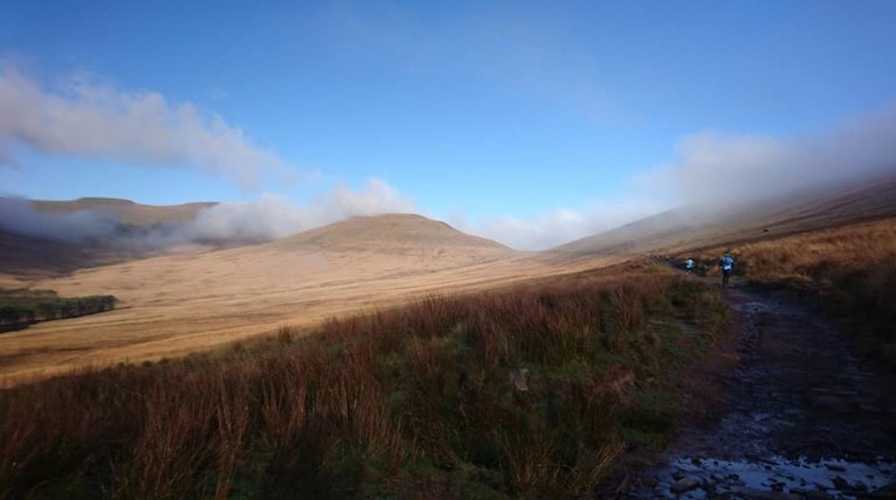 The mist clearing on the Roman Road climb during the Beacons Ultra