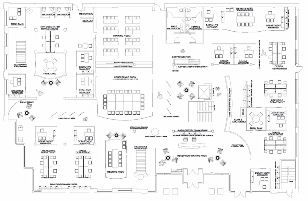 First Level Floor Plan Office Design Plans