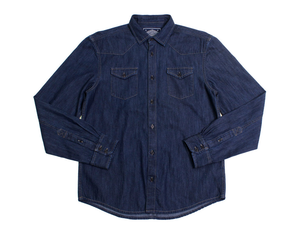 Morris LS Button Up - Dark Denim