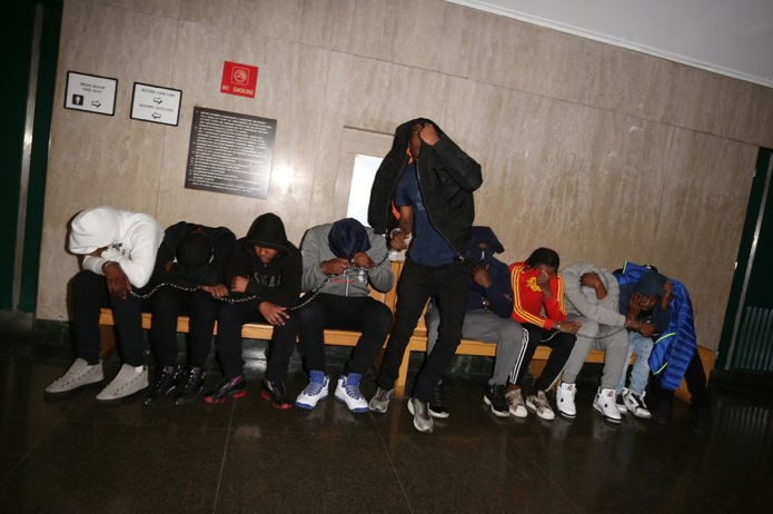 Members of the Brooklyn Rap group Pop Out Boyz and their associates were arrested on charges of grand larceny on April, 26th. -Alec Tabak