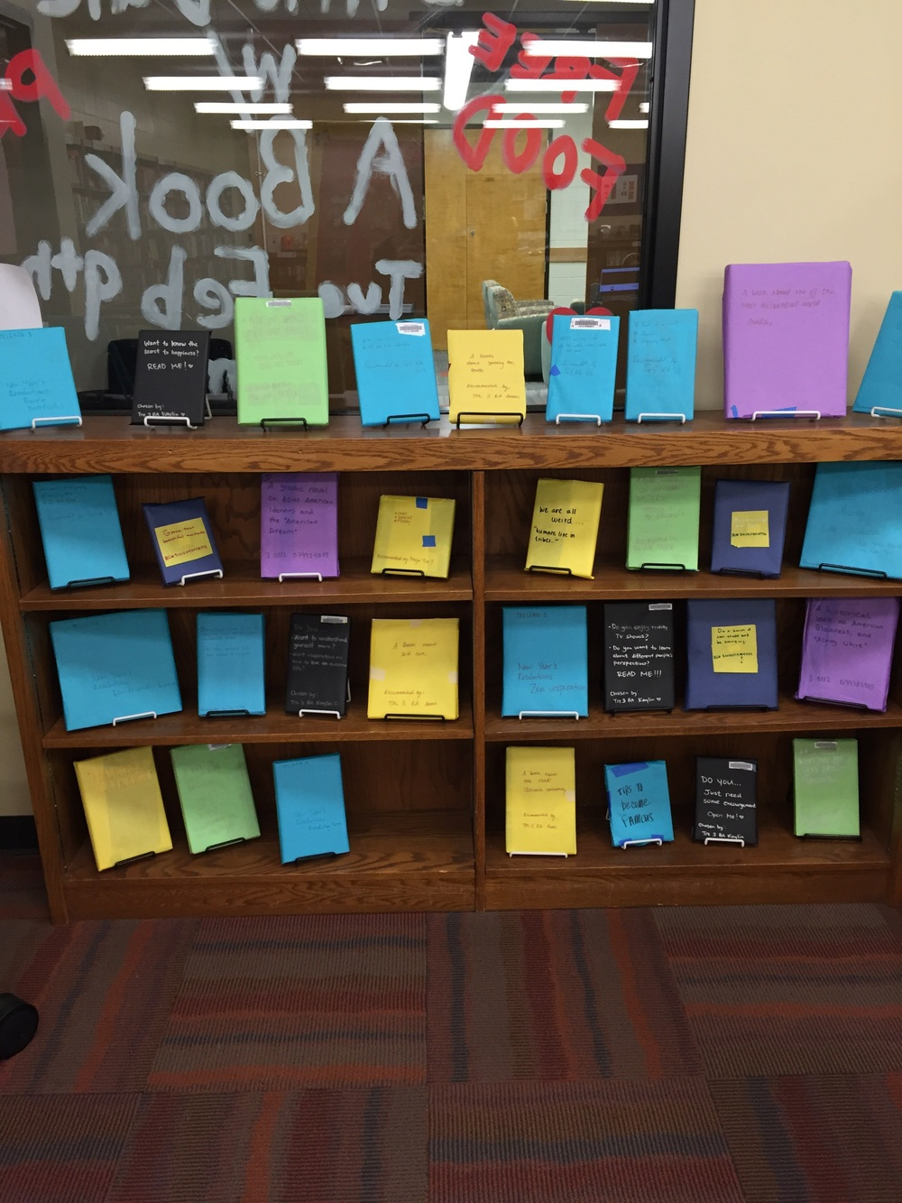 The Blind Date with a Book display