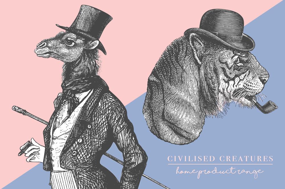 civilised creatures vintage illustration collage product range anthropomorphic designs