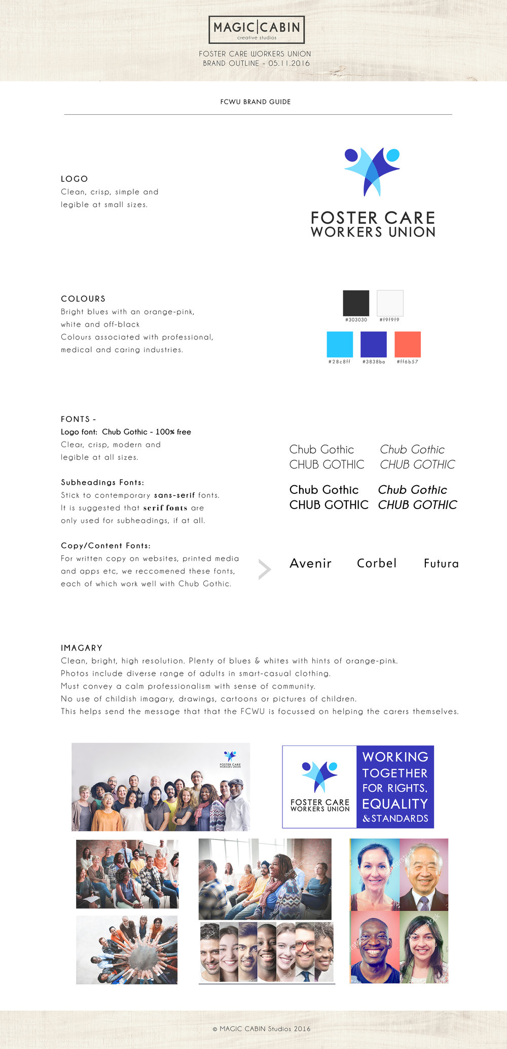 foster care workers union brand guide design sheet