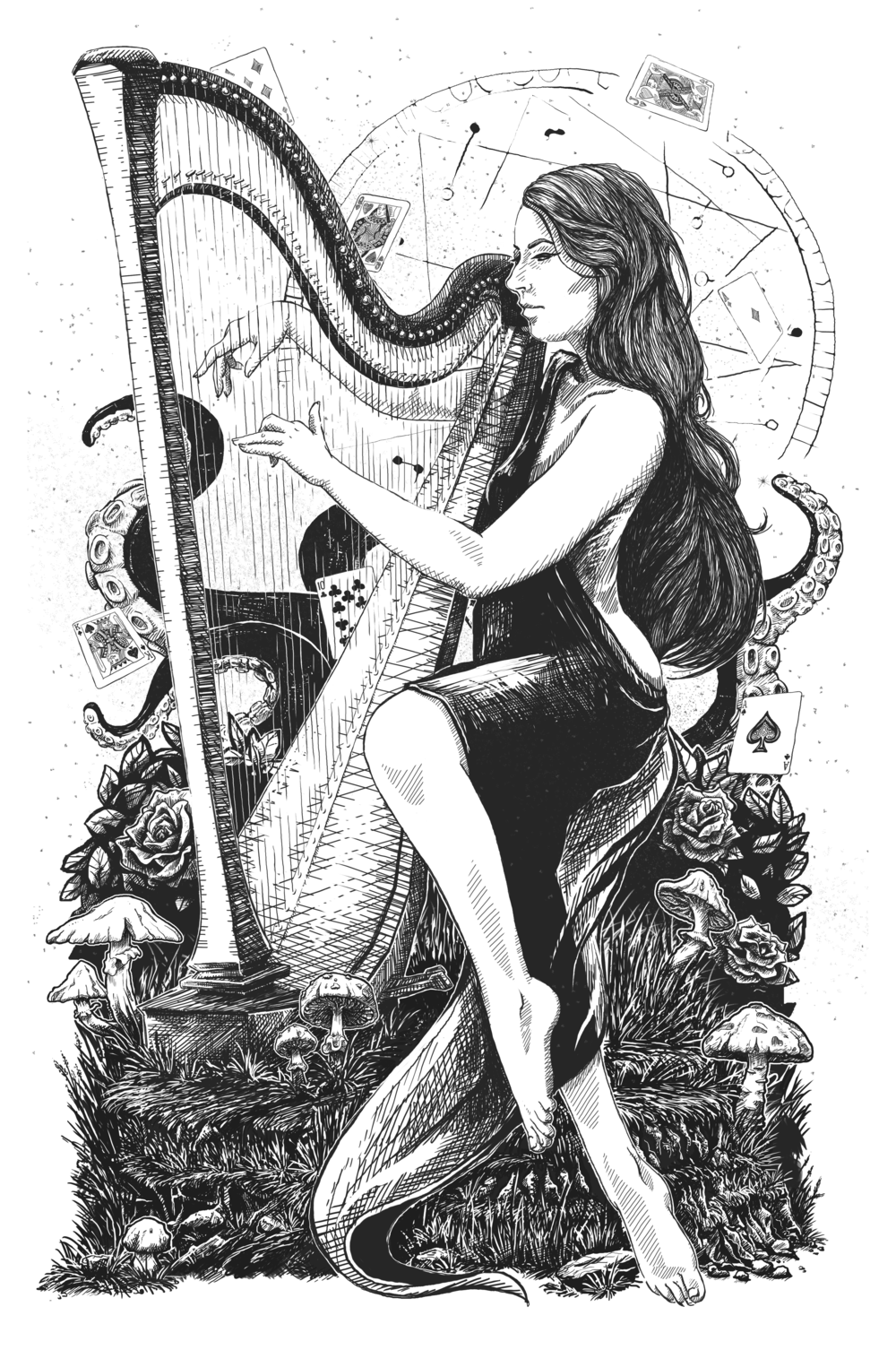 The Harpist Illustration