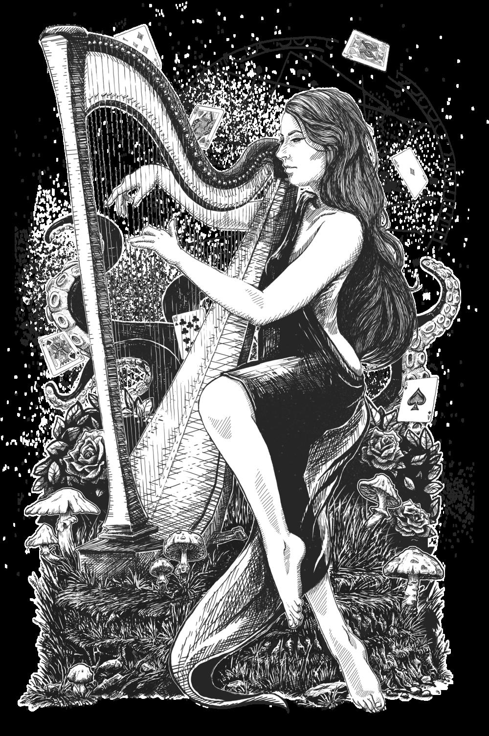 The Harpist Illustration