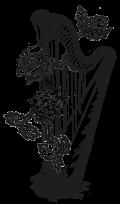 Amy Turk logo design music harp roses floral sketch ink