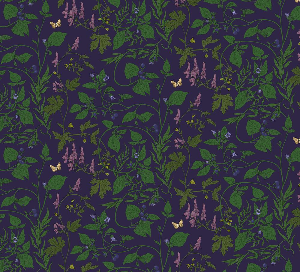 salix games indie pattern design graphic design surrey floral purple colourful william morris victorian