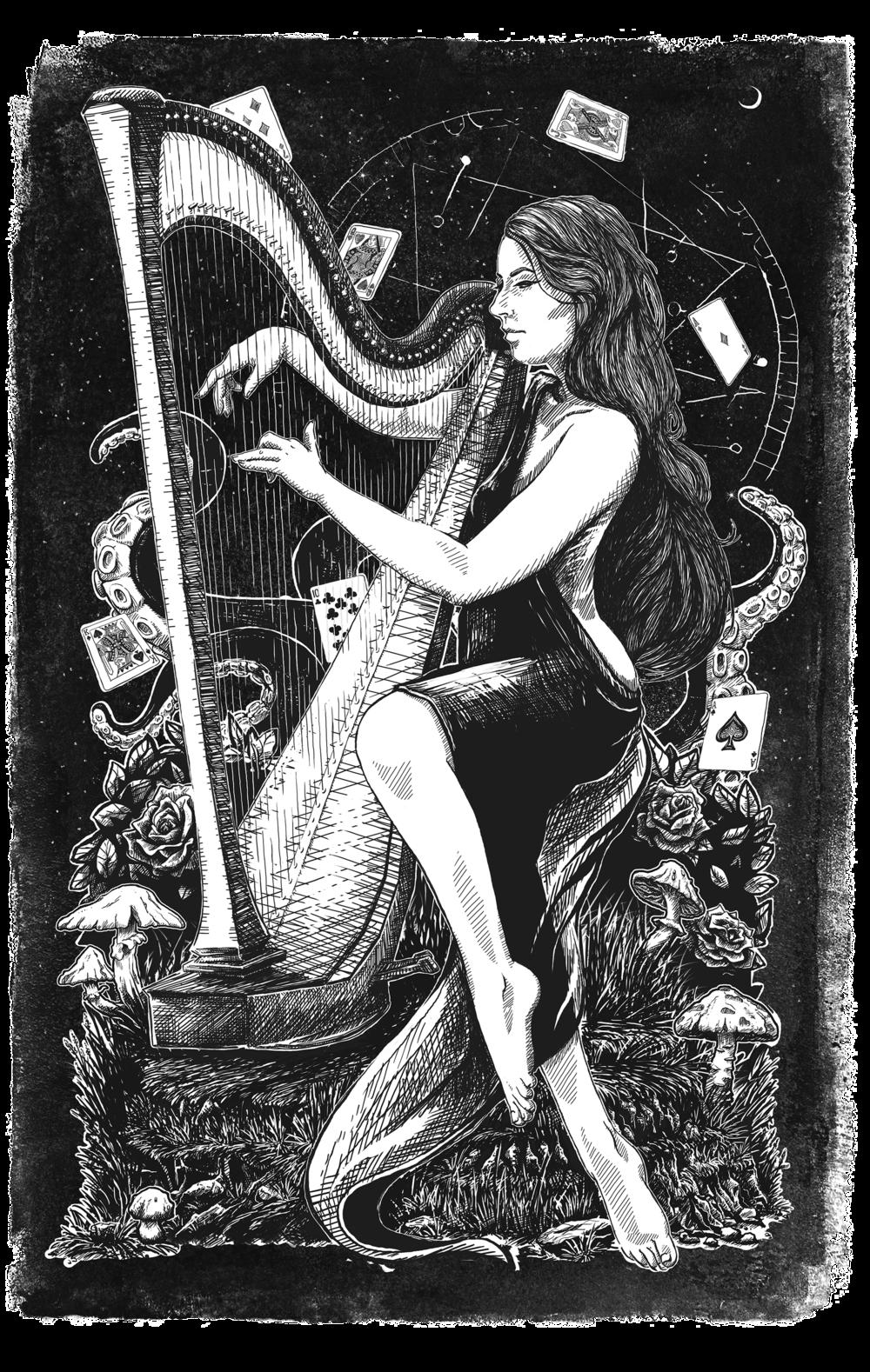 amy turk dark hand drawn illustration music commission alice wonderland
