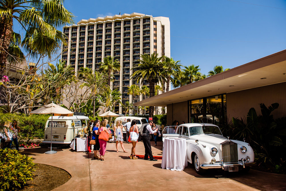 Outside on the terrace with Rolls Livery, Photo Pacific Coast PhotoBus Photo Booth and the ever popular Tap Truck!