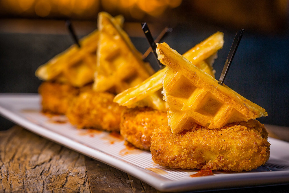 LATE NIGHT CHICKEN 'N WAFFLES    Surprise your guests and create a perfect ending to a perfect night. Fried Chicken, Belgian Waffle, Sriracha Sauce