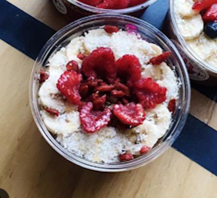 pitaya | blueberries | banana | goji berries | raspberries | almond milk | hemp granola