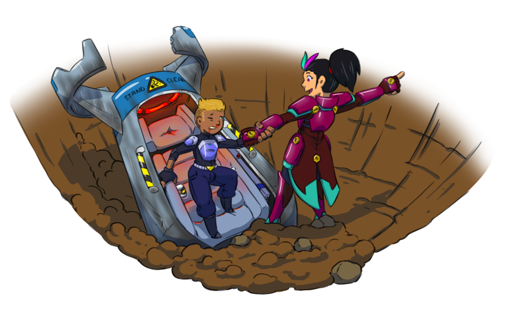 Here we have a heavily armored lady helping a newly found survivor out of his drop pod. Where is she pointing? Isn't it obvious? TO ADVENTURE!