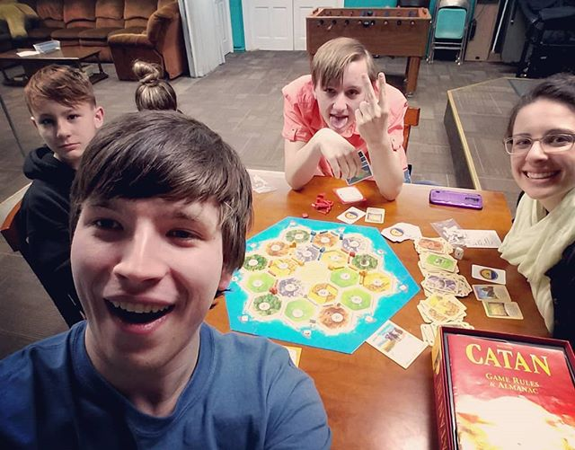 And sometimes, when we have a small youth group, we play Catan