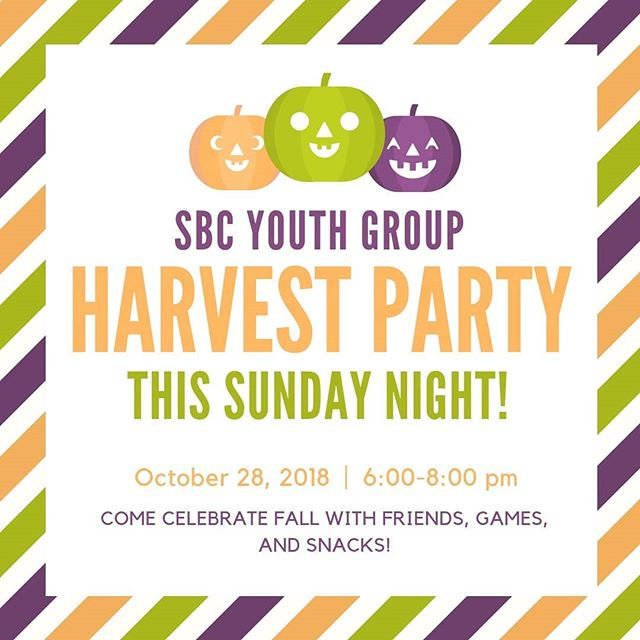 There are two big things coming up this week! This sunday is our youth group harvest party, and Wednesday is our trick or treat outreach! We hope you can join us on sunday for the fun, and on Wednesday for our neighbors!