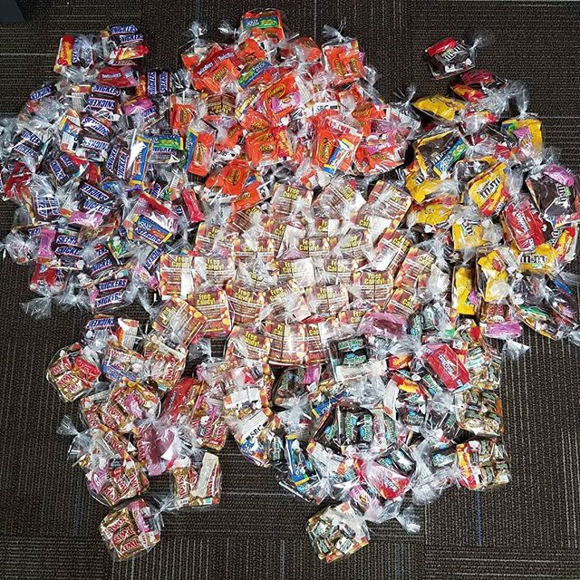 250 bags of candy all ready to go! Come by the church between 6 and 8 tonight and help us give it all out and show love to our neighbors! =D