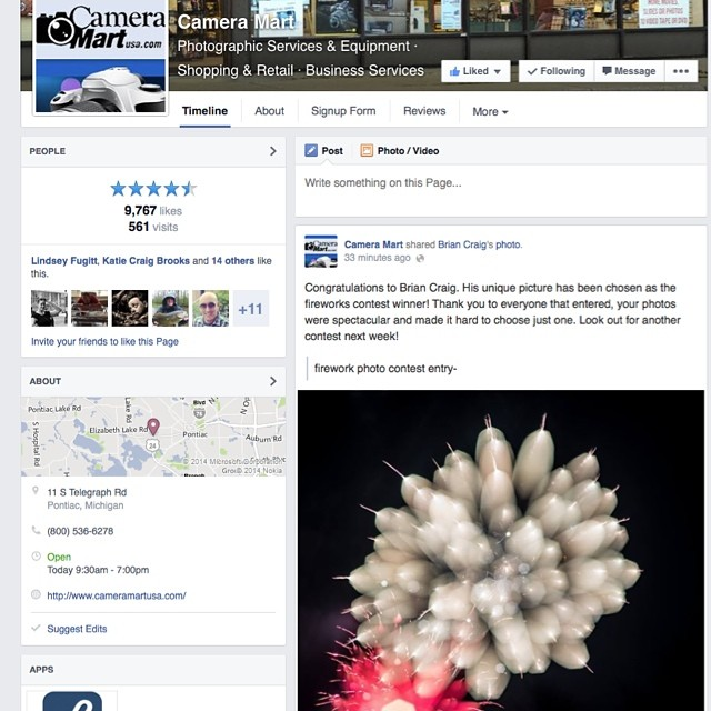 Pretty cool news. My firework photo got chosen by Camera Mart  for the recent fireworks photo contest. Thanks @camermart can't wait come in and say thanks in person and buy some goodies of course! #fireworks #detroit