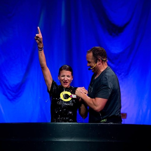 Just one of the great baptism moments from today. Loved seeing all the Celebrate Recovery folks up there too. Amazing stories shared. Easily one of my favorite events to shoot during the year. @kensingtonchurch