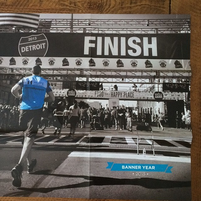 Fun surprise. Saw this in this in the mail today. One of my Detroit Free Press Marathon images used for a big fold out Info poster for @kensingtonchurch and @hopewaterproject The cool thing is that the runner is one of our good friends Kyle! #cleanwater