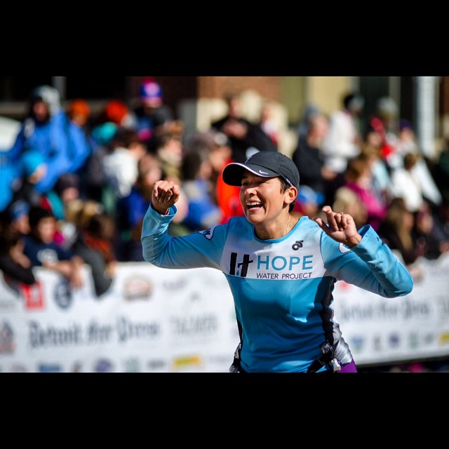 #weekofhope @hopewaterproject runner and friend, the amazing @hollyheter pictured here as she finishes the #DetroitFreePressMarathon she and 1400 other HWP runners put themselves through this amazing feat of endurance to raise money for those who don't have clean water in Kenya. To get involved check out HopeWaterProject.org to run or donate. #runnersworld #run #waterchangeseverything #detroitstrong #kenya #marathon