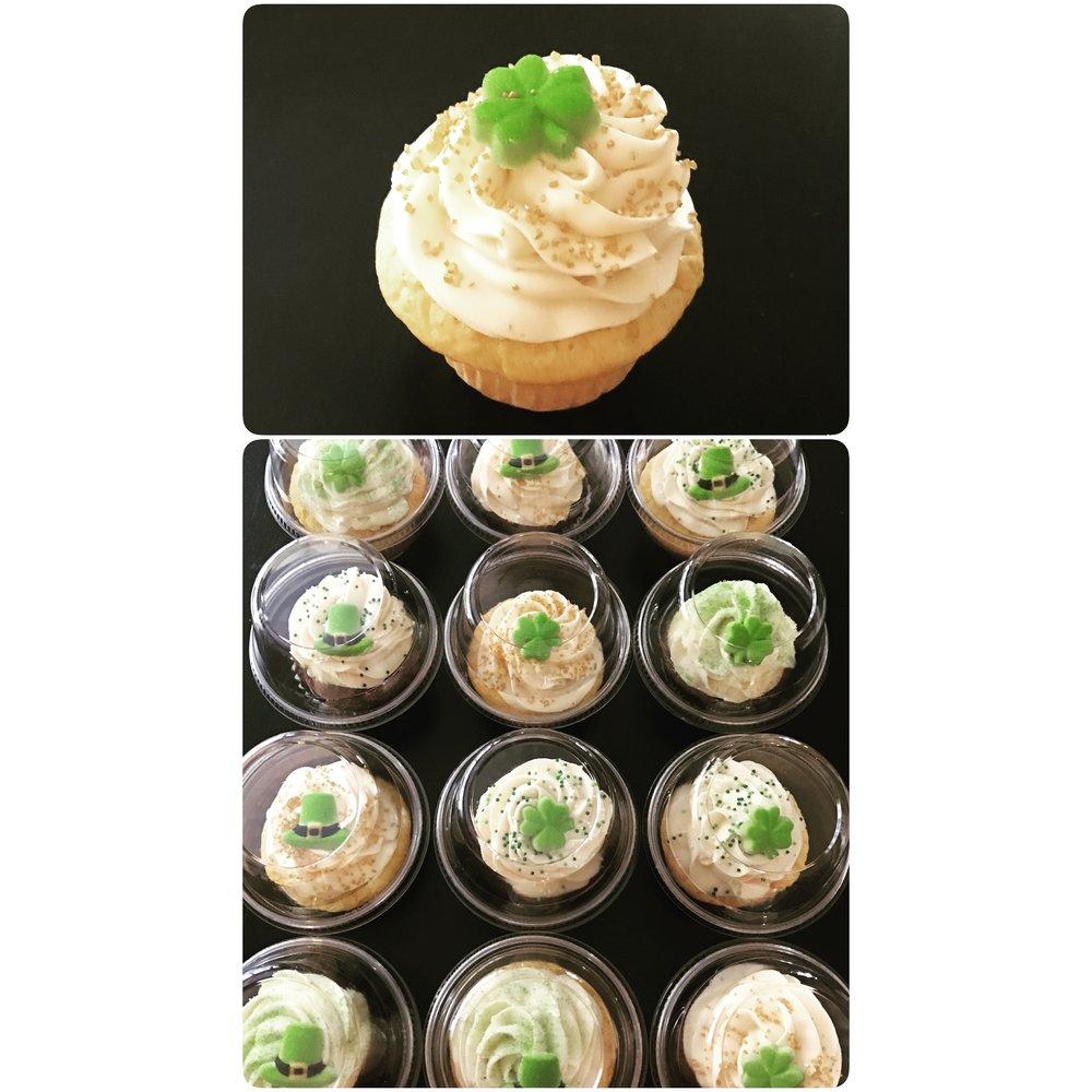 Irish Cream Shamrock Cupcakes