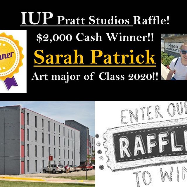 We have a winner!!!! Congratulations to Sarah Patrick, class of 2020 Art major. She won $2,000! Thank you to all who participated!! Stay alert, we have more raffles coming soon!