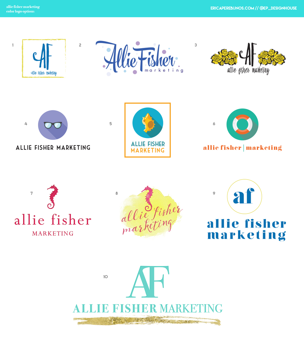 The above options were the very first thing I sent Allie. No color palette, no mood board. I just had her fill out my branding identity questionnaire to get a feel for what she wanted, then she received 10 shiny new logo options in her inbox.