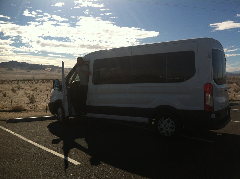 Alex with the rental van on our way to Colorado.