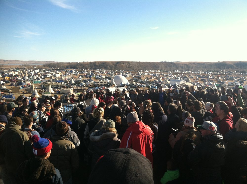 A press conference at the Oceti Sakowin Camp - Standing Rock, North Dakota