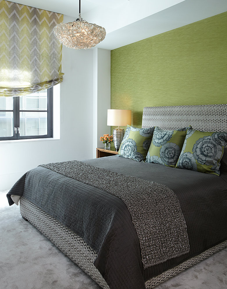 Master Bedroom with Grasscloth headboard wall