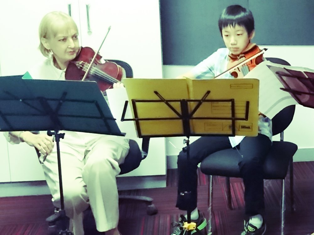 Advanced learner of Violin in a private session