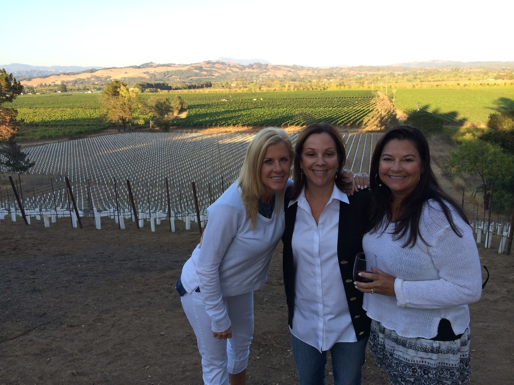 Val with Friends Ella Koscik and Lori Karian who visited the newly planted 3150 Westside Road Estate Vineyard