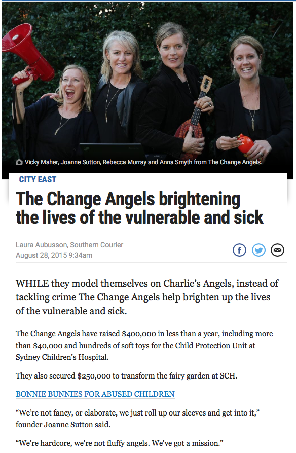Daily Telegraph - The Change Angels launch Bonnie the Bunny