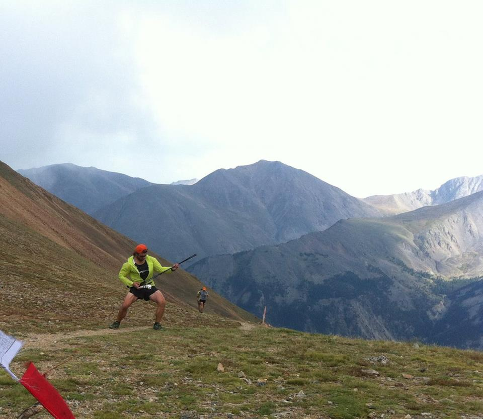 Mindset goes a long way: Air guitar on tope of Hope Pass during the 2012 Leadville 100.