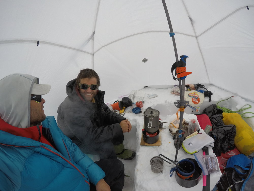 Wade Morris (right) and I enjoying a typical whiteout day at 14,000-foot Camp
