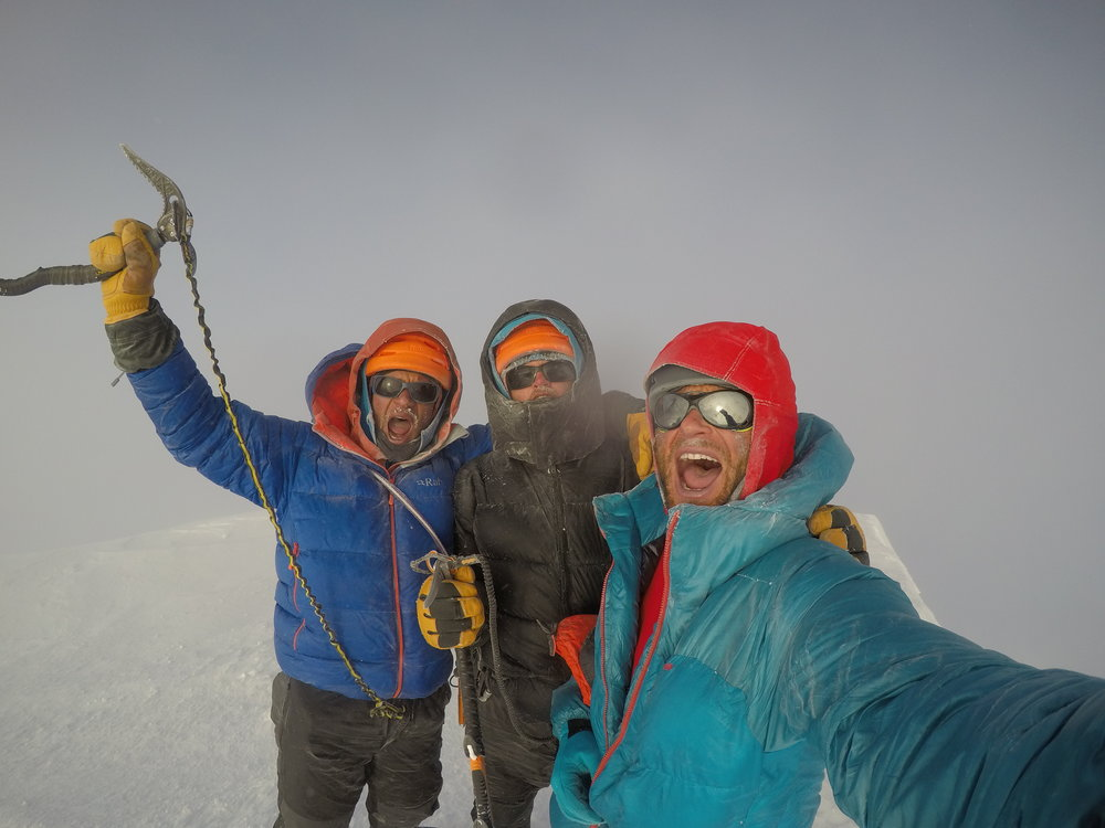 Ryan Edwards, Nate Kenney, and I on the summit of Denali for the second time on June 6, 2017, after climbing the Cassin Ridge