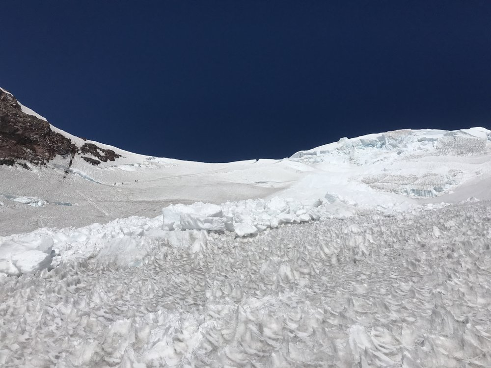 Recent snow and icefall that wiped out the climbers path on the Dissapointment Cleaver Route
