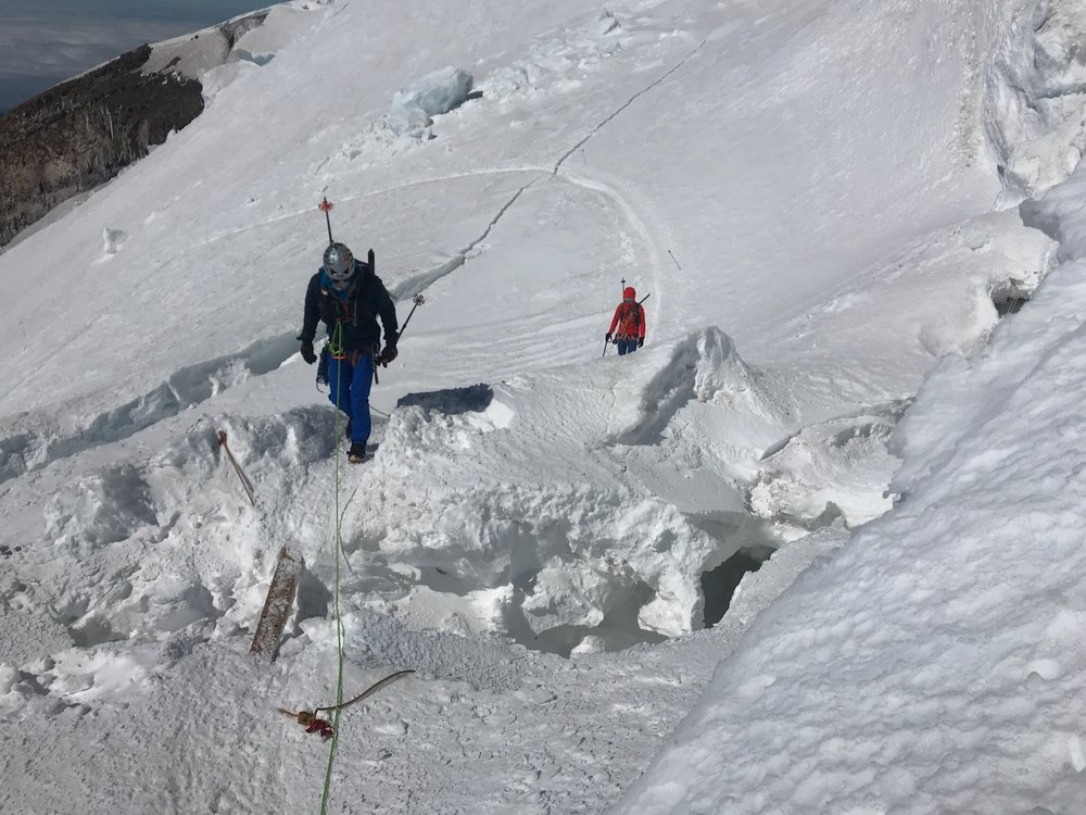 Erik and Sam navigting crevasses on the Dissapointment Cleaver Route